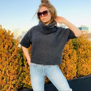 Neiman Marcus Cowl Shift Crop Cashmere Sweater L